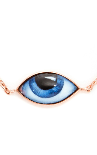 Rose Gold And Enamel Blue Eye Bracelet  by LITO Now Available on Moda Operandi