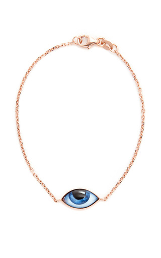 Medium lito gold rose gold and enamel blue eye bracelet