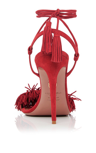 Wild Thing Red Fringed Heeled Sandals by AQUAZZURA Now Available on Moda Operandi