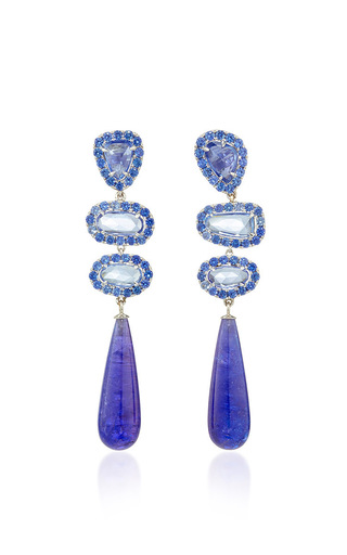 Medium shawn warren blue one of a kind signature sucre blue sapphires and tanzanite earrings
