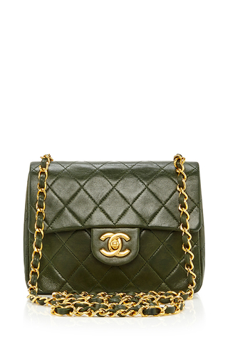 Medium what goes around comes around olive chanel green lambskin mini flap