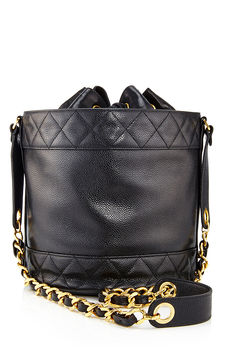 00d060ed8980 What Goes Around Comes AroundChanel Black Caviar Quilted Border Bucket Bag.  CLOSE. Loading