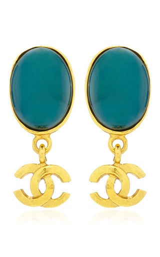 Medium what goes around comes around gold chanel gold green stone dangle earring