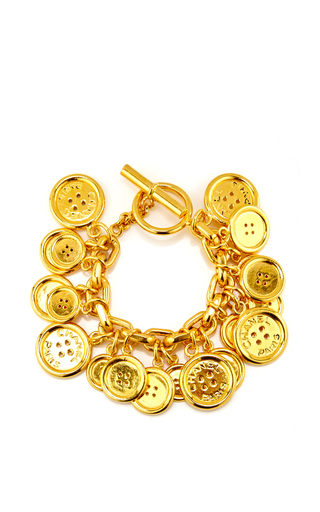 Medium what goes around comes around gold chanel button charms bracelet