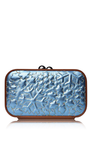 Medium katrin langer blue snow flake embroidered clutch in metallic blue
