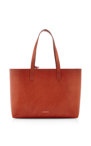 Medium mansur gavriel orange vegetable tanned small tote in brandy with avion
