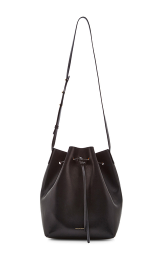 Medium mansur gavriel black vegetable tanned bucket bag in black with gold