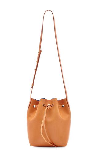 Medium mansur gavriel tan mansur gavriel calf leather mini bucket bag in camello with azzurro