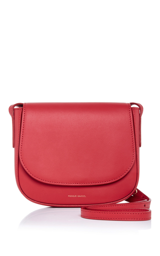 Medium mansur gavriel red calf leather mini crossbody bag in flamma with flamma