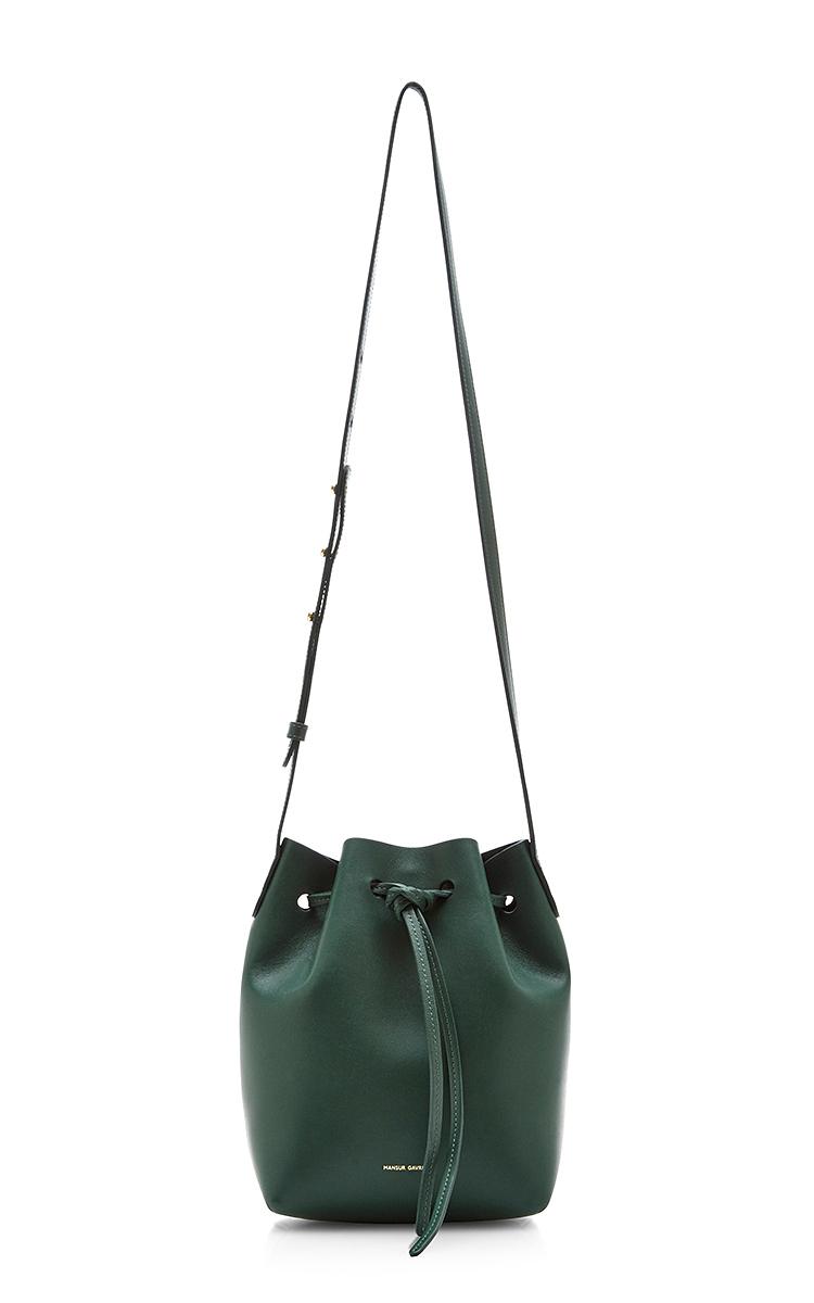 Moss Calf Leather Mini Bucket Bag by Mansur Gavriel