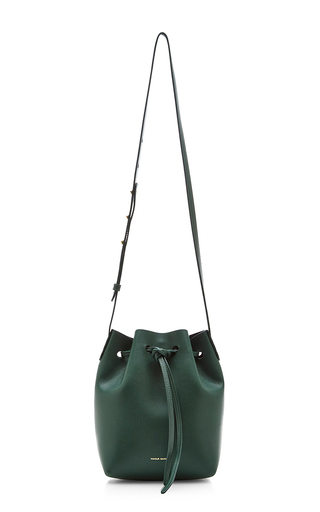 Medium mansur gavriel green moss calf leather mini bucket bag