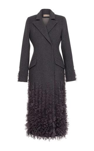 Medium ruban light grey embellished cashmere coat