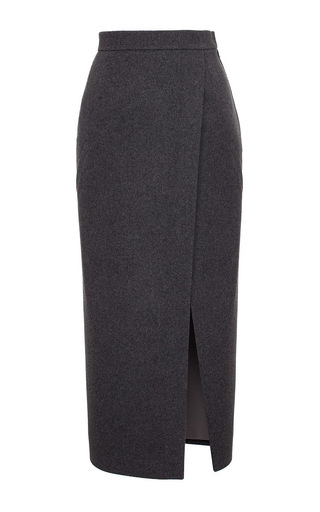 Medium ruban light grey grey cashmere midi pencil skirt