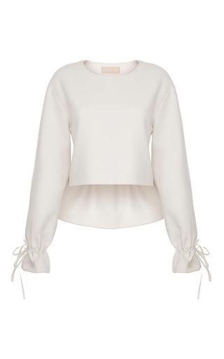 Medium ruban white cashmere blouse