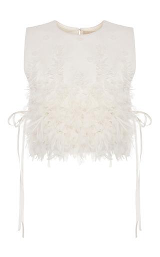 Medium ruban white embellished cashmere chemisette