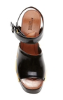 Black Leather Chunky Wooden Heeled Sandals by ROSETTA GETTY Now Available on Moda Operandi