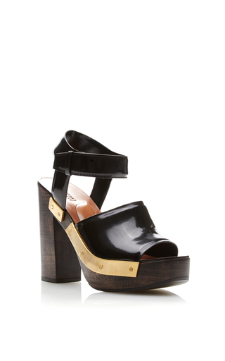 Medium rosetta getty black black leather chunky wooden heeled sandals