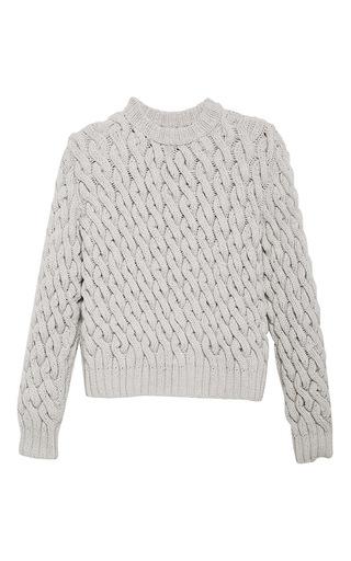 Medium orley light grey grey chain stitch wool and cashmere sweater