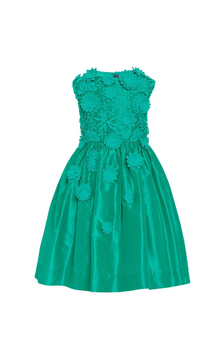 Girls Jade Taffeta Flower Lace Party Dress by Oscar de la Renta ...