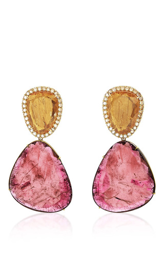 Medium marco bicego multi one of a kind pink tourmaline imperial topaz and diamond earrings