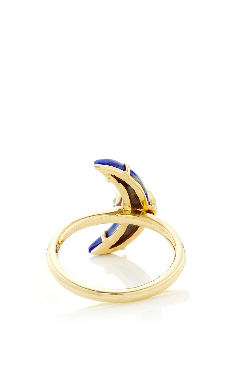 Lapis Crescent Ring with Sleeping Beauty Turquoise by Andrea Fohrman