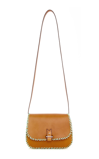 Natural Calf Leather With Neon Yellow & Blue Nylon Rope Cross Body Bag by LACONTRIE Now Available on Moda Operandi
