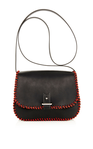 Medium lacontrie black black calf leather with red black nylon rope cross body bag