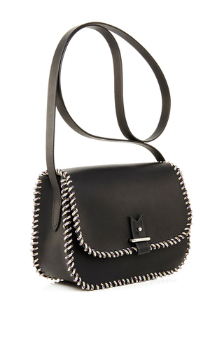 Black Calf Leather With Grey Rainbow Nylon Rope Cross Body Bag by LACONTRIE Now Available on Moda Operandi