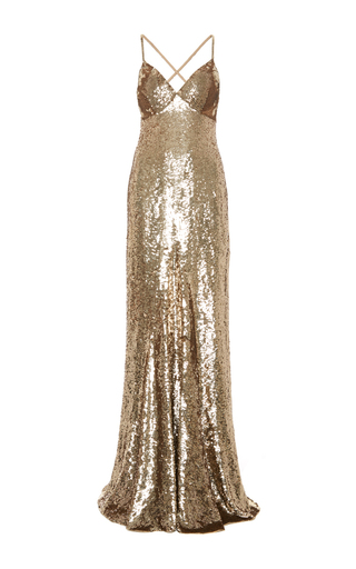 Medium temperley london gold long tamir dress