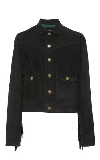 Medium current elliott black the on fringe black leather trucker jacket