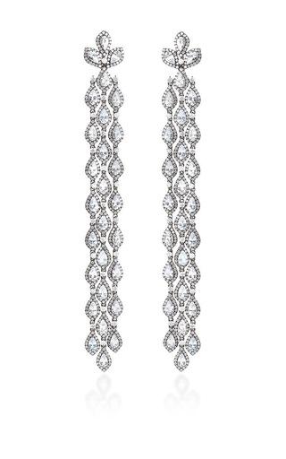 Medium bochic white bochic diamond and white sapphire long cascade earrings