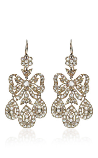Medium nam cho white nam cho diamond bow earrings