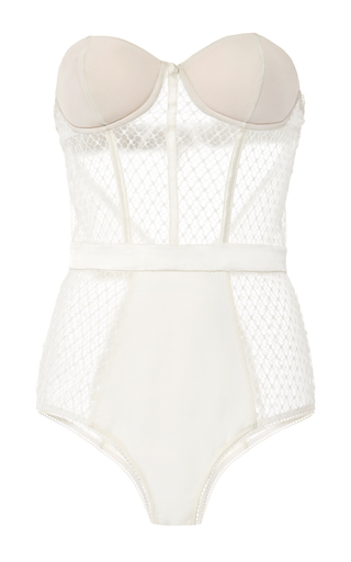 Medium fleur du mal ivory french net lace bodysuit