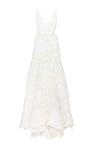 Medium luisa beccaria white rouched tulle organdy dress