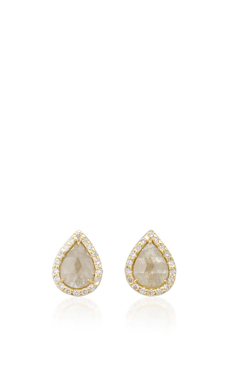 tomfoolery earring by m single diamond stud gold shaped metier tier yellow