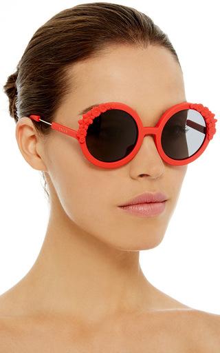 Red Bouquet Circular Sunglasses by PREEN BY THORNTON BREGAZZI Now Available on Moda Operandi
