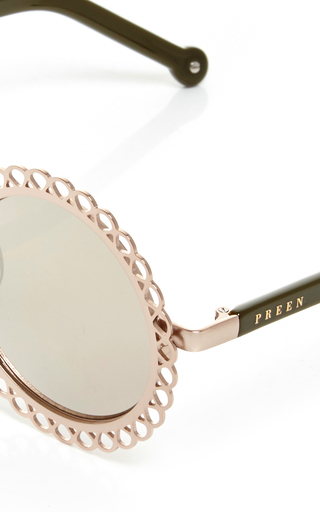 Gold Chantilly Edged Round Sunglasses by PREEN BY THORNTON BREGAZZI Now Available on Moda Operandi