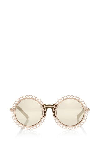 Medium preen gold gold chantilly edged round sunglasses