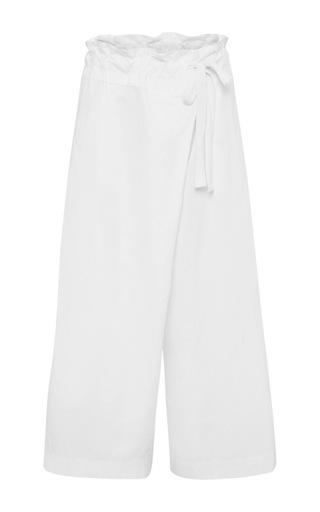 Medium lee mathews white cotton wrap pant