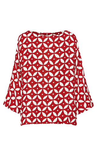 Medium lee mathews red geo top