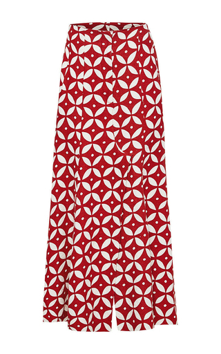 Medium lee mathews red geo skirt