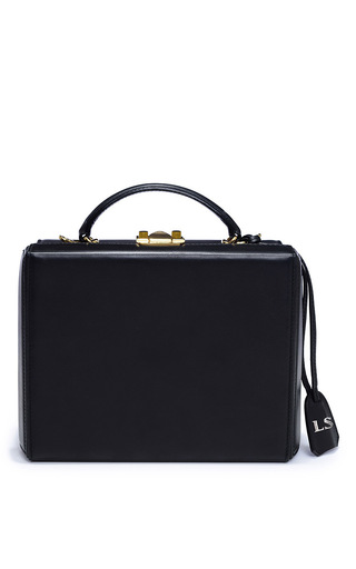 Medium mark cross black monogrammable small grace box trunk shoulder bag in black smooth calf leather