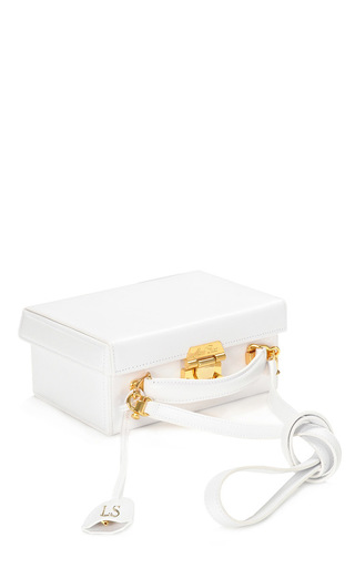 Medium mark cross white monogrammable large grace box trunk shoulder bag in white saffiano leather