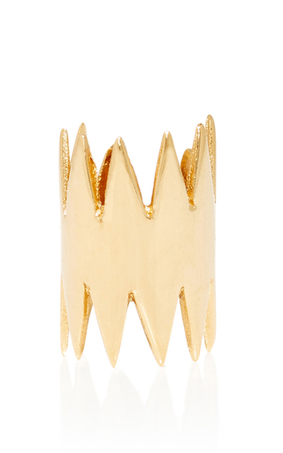 Medium annelise michelson gold carnivore gold ear cuff with double thorns