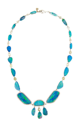 Medium nina runsdorf multi 18k white gold opal necklace