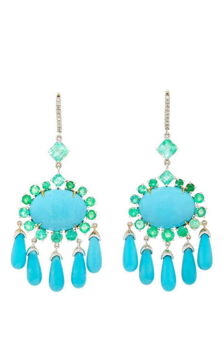 18K White Gold Emerald and Turquoise Chandelier | Moda Operandi