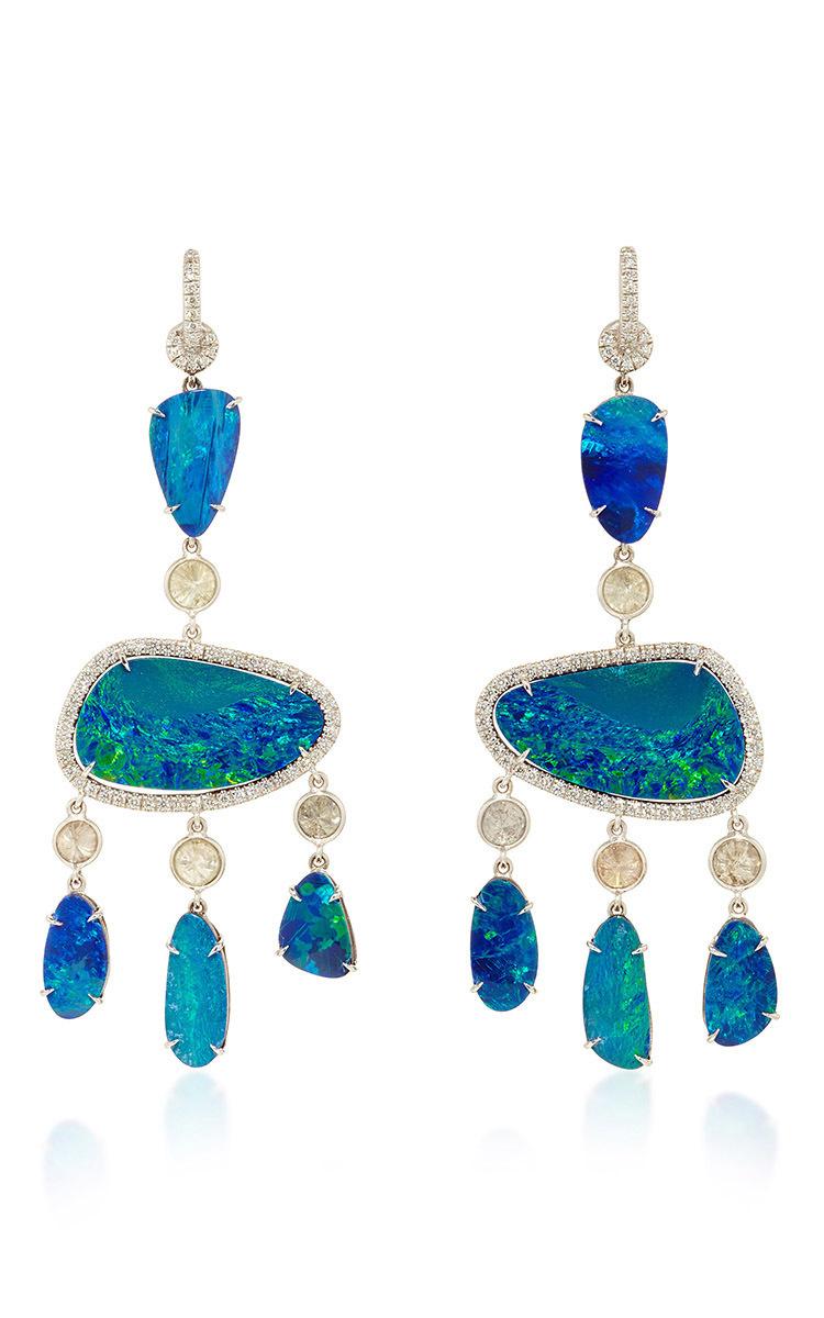 18k White Opal Chandelier Earrings