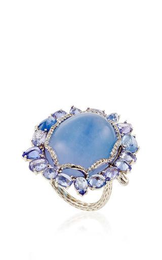 Medium nina runsdorf light blue 18k white gold blue chalcedony and blue sapphire ring