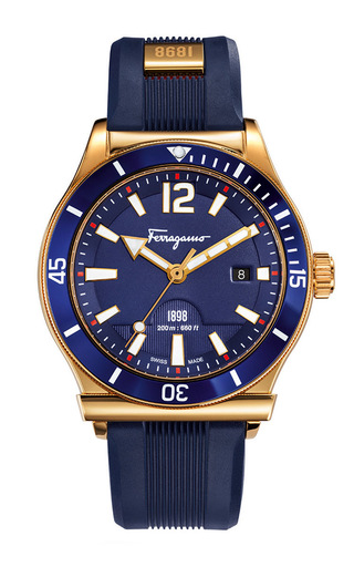 Medium salvatore ferragamo blue mens 1898 sport blue dial watch