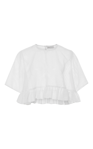 Medium alice mccall white something about us ruffled hem crop top
